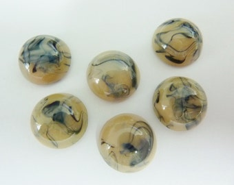 6 glass cabochons, Ø13mm, marbled creme, round