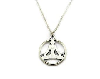 Yoga Necklace Zen Necklace Meditation Necklace Lotus Pose Necklace Zen Jewelry Yoga Jewelry Meditation Jewelry