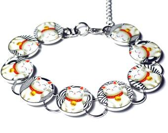Lucky Cat Bracelet, Maneki Neko, Japanese Lucky Cat, Beckoning Cat, Good Luck, Cat Jewelry, Handmade Jewelry, Resin Bracelet