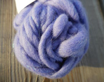 Thick & Thin Periwinkle Sparkle Handspun Yarn, Soft and Soothing
