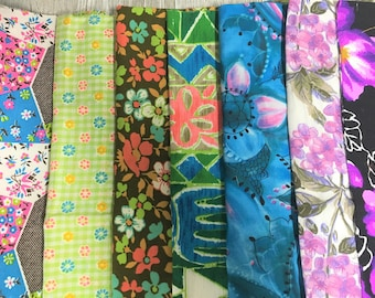 Vintage Fabric Lot of 50 Pieces Large and Smal 1960s 1970s Bright Prints