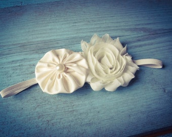 Baby Baptism antique ivory or pure white shabby chic flower on soft stretch headband newborn to 6 years