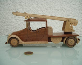 Wood type firefighter truck scale.