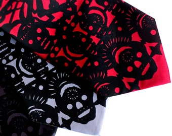 Papel picado screenprinted microfiber necktie. Dia de los Muertos. Black ink. Choose standard or narrow.
