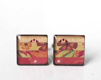 Men's Cufflinks in Red, Orange and Yellow - Autumn Tones Stripes Square Cuff Link for Men Groom Groomsmen Fall Wedding