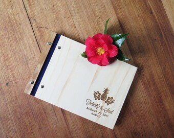 Hawaiin Wedding Guest Book, Photo Scrapbook, Tropical Wedding, Engagement Gift, Guestbook