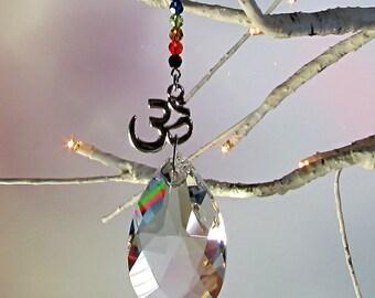 Chakra Crystal Om Sun Catcher & Christmas Ornament, 1S-9