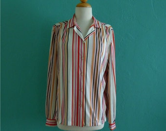 sale   vintage 80's rainbow striped blouse // striped multi colored top