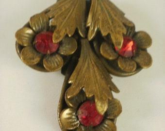 Art Deco Era Brass and Glass Dress Clip