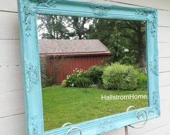 Aqua Blue Distressed Wall Mirror, Farmhouse Mirror, Ornate Mirror, Farmhouse Vanity