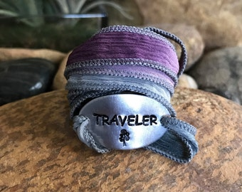 Travel the world, traveler, silk wrap bracelet, traveler jewelry, graduation gifts, travel bracelet, explore jewelry, Mother's Day