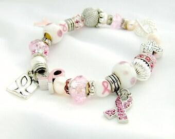 SALE! Customizable Breast Cancer Pink Ribbon Support Bracelet - Freshwater Pearls, Swarovski, Rhinestones, Charms