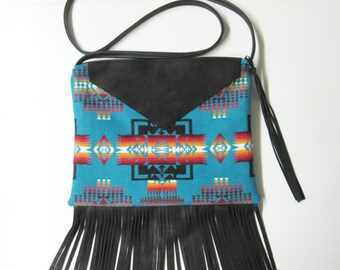 RESERVED for s.e. r-w Fringed Cross Body Bag Purse Shoulder Black Deer Leather Southwest Style Tribal Inspired Messenger