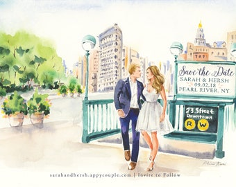 Watercolor Save the Date Illustration - Couple Portrait, Wedding, Bride Groom, Engagement Announcement, Watercolour Art Painting Drawing