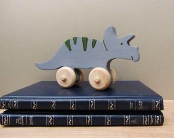 Wooden Triceratops Push Toy Waldorf Dinosaur Eco-friendly Dino