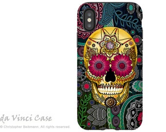 Paisley Sugar Skull iPhone X Tough Case - Dia De Los Muertos Dual Layer Case for Apple iPhone 10 - Sugar Skull Paisley Garden