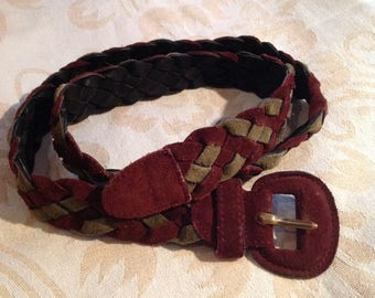 Vintage Woven Leather Belt Burgundy Suede Women
