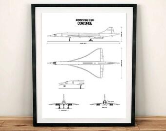 "Concorde Blueprint, Concorde, Blueprint Art, Concorde Decor, Instant Download, Concorde Wall Art, Printable Art, Aviation Art, 8x10"", 11x14"""