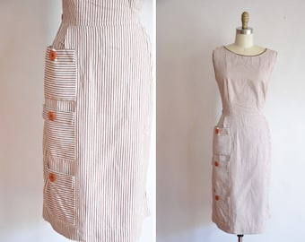 50s Layered Coffee dress/ vintage 1950s cotton dress/ vintage striped dress