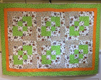 Owl Quilt, Lap size Quilt, Size 43.5 Inches x 60 Inches, Toddler Quilt, Owl Crib Blanket, Quiltsy Handmade