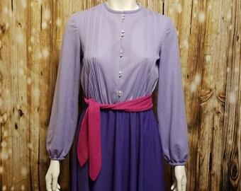 Vintage, 70's, color-block purple swing dress, Medium