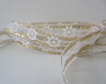 "Gold Lace Trim Ribbon 1"" inch wide White Flower Glitter Lace Sparkle Wedding Bridal Scrapbook Card Decoration Sewing Trim Gift Basket WL023"