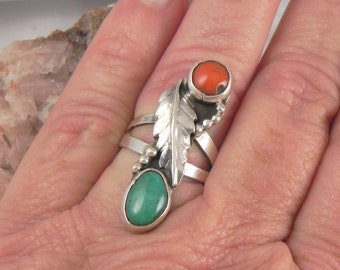 Turquoise Coral Sterling Ring
