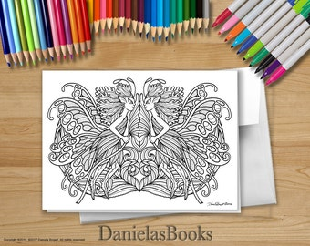 1 Fairy Twins - 5x7 - Coloring Greeting Card - blank inside. Perfect gift for art lovers.