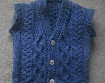 Niall baby and toddler sleeveless aran pullover PDF knitting pattern