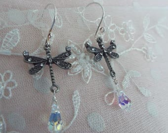 Dragonfly Earrings Swarovski AB Crystal Sterling and Antiqued Silver
