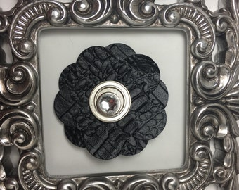 Black leather hair clip, black faux leather hair flower with silver and rhinestone center, girls hair clip, teen hair clip, womens hair clip