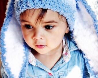5T to Teen Stripe Bunny Hat, Kids Rabbit Hat, Boy Bunny Blue Stripe Hat, Childrens Bunny Hat Blue White Bunny Ears   Kids, Baby Gift