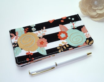Checkbook Cover Piper Floral Black White Stripe - Wallet - Receipt Holder - Fabric Checkbook Cover - Gift For Her -Gift For Mom -Graduation