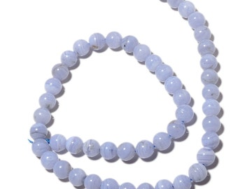 Blue Lace Agate Beads, 8mm Round Beads, 7.5 Inch Half Strand, SKU-MM33/1
