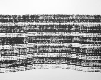 """14 x 14 Original Hand Painted Fine Art Abstract Black and White Ink Painting """" Untitled 2048"""""""