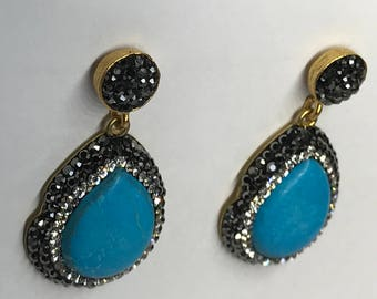 Turquoise Earring, Gold Plated, Stone Earring, Bohemian Jewelry