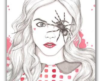 Cara Delevingne Spider Eye Fashion Illustration A6 Postcard Illustrated Print