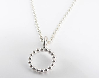 Delicate necklace pendant beads Perldraht Circle Silver