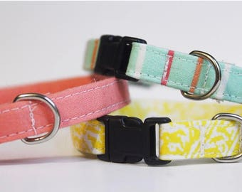 Blue Cat Collar Stripes, Pink, Yellow | Breakaway Cat Collar Trio | Handmade | Adjustable | Small Dog Collar | Pet Collar |Safety Cat Collar