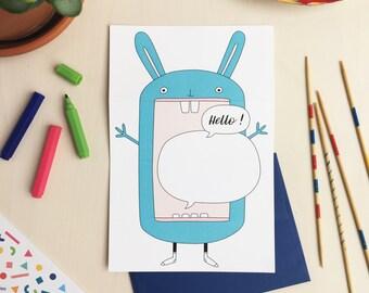 HELLO! Bunny unfolding greeting card