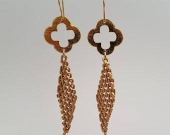 Gold Clover Dangle Earrings
