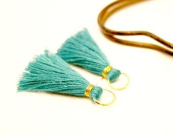 2 Emerald Green tassels, tassel gold tassel 35 mm cotton tassel Turquoise Pompom tassels handmade tassel for jewelry, tassel charm