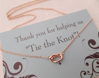 Rose gold, Gold or Silver Love Knot necklace...Tie the knot necklace...dainty, everyday, simple, birthday,  wedding, bridesmaid jewelry
