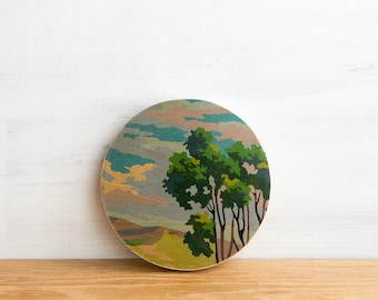Paint by Number, Circle Art Block - 'Treetop View', vintage art, pastoral scene, nature themed, wall decor, wall art, ready to hang