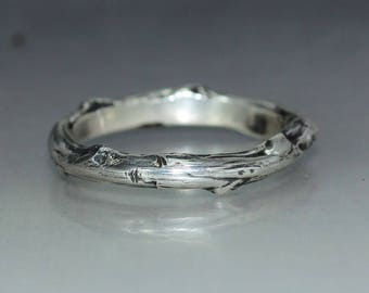 A handmade  Twig Silver Wedding Band Rustic Organic Mans ring Womans Ring