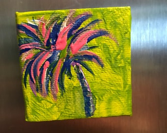 Hand painted fridge magnet/ acrylic canvas refridgerator magnet/ painted magnet/ palm tree magnet/