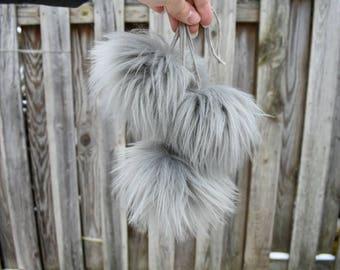 Faux Fur Pom Pom, Faux Fur Pom, Pom Pom for Knit Hat, Pom Pom, Faux Fur, White Pom Pom, Grey Pom, White Faux Fur Pom, Gray Pom
