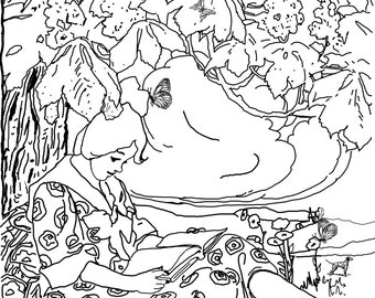 Girl Reading Under Tree- A Vintage Coloring Page