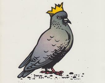 Party Pigeon linocut print