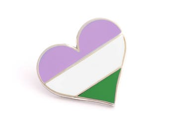Queer pin, Pride pin, Gay lapel pin, Genderqueer pin, Heart enamel pin, Queer flag, LGBTQIAPK, LGBT, LGBTQ, Pride parade, Pride brooch